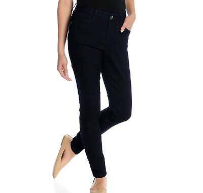 NEW One World Woven Dark Denim Five-Pocket Full-Length Slim Leg Jeans Sizes 4-16