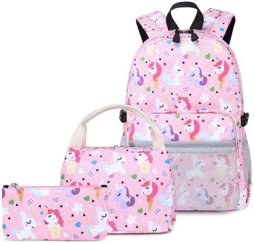 Unicorn Girls School Backpack Lunch Box Pencil Case SET Book Bag Kids Daypack-