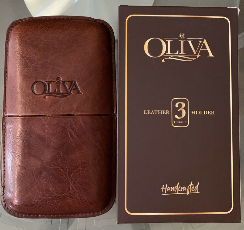 New W Box Oliva Travel Brown Leather With Embossed Logo Cigar Case 3 Tubes