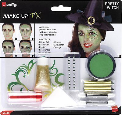 Halloween Pretty Witch Face Paints/Gem/Tattoo Make-Up Kit