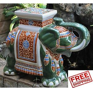 Porcelain Patio Stool Garden Ceramic Elephant Asian Seat Statue Green Stand