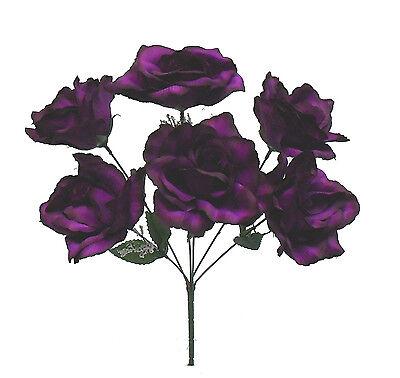 6 Open Roses Purple Plum ~ Soft Touch Silk Wedding Flowers Bouquets Bridal Decor
