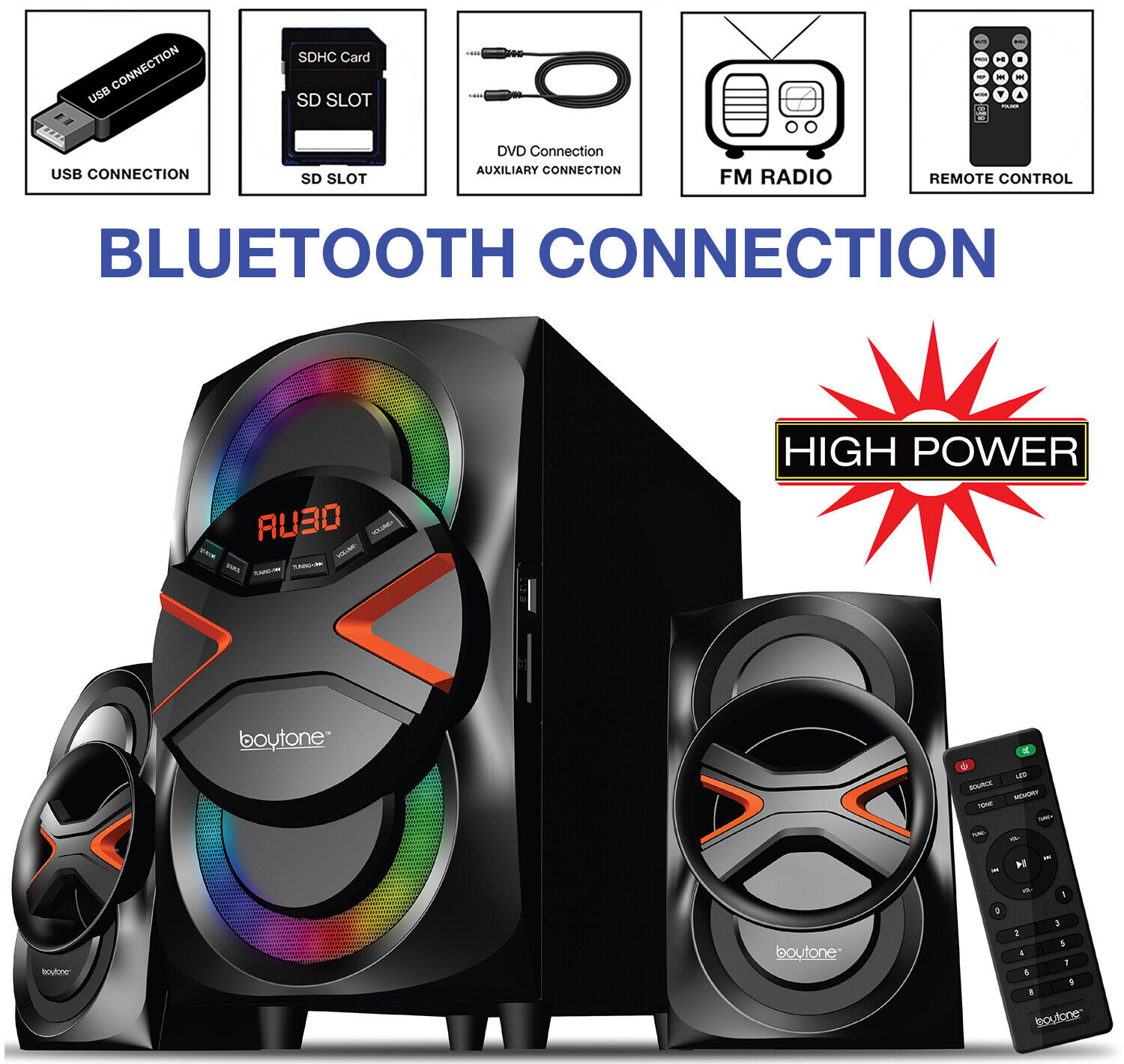 Boytone BT626F 2.1 Bluetooth Powerful Home Theater Speaker System FM Radio