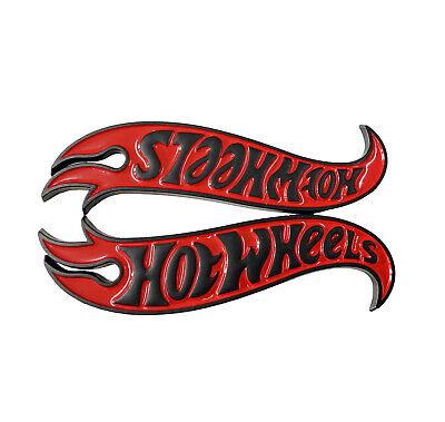 Pair Red Black Hot Wheels Logo Side Fender Lid Hood Badge Emblem Camaro