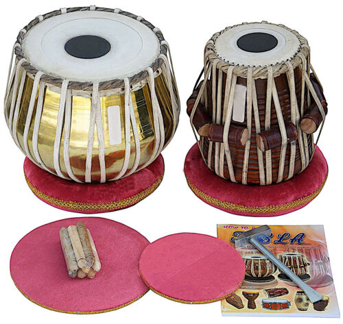 Tabla Set by SAI Musicals, Golden Brass Bayan 2.5Kg, Sheesham Dayan Tabla, Nylon