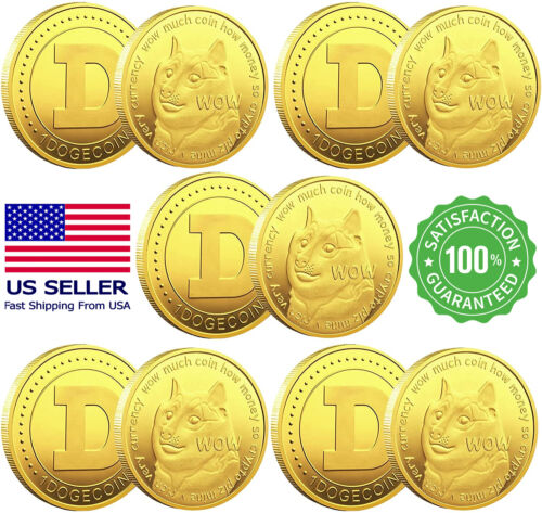 10Pcs Dogecoin Coins Commemorative Physical Crypto Gold Doge coins Collection