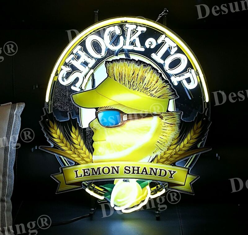 "New Shock Top Lemon Shandy Light Lamp Neon Sign 24"" With HD Vivid Printing"