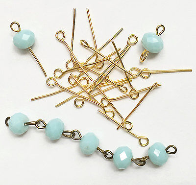 Bulk 550 Gold plated Steel eye pins 20mm long 21 gauge