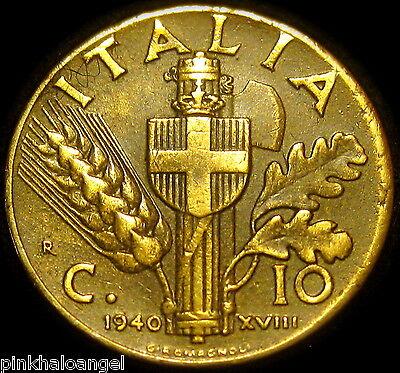 Italy - Kingdom of Italy - Italian 1940R 10 Centesimi Coin - World War II Coin