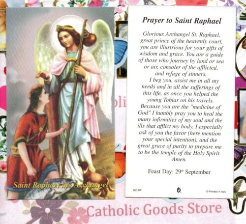 St. Raphael the Archangel with Prayer to Saint Raphael  - Paperstock Holy Card