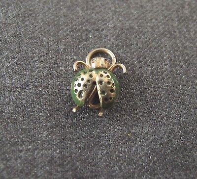 VINTAGE 70'S ENAMELED LADYBUG GOLDEN METAL MINIATURE PENDANT CHARM