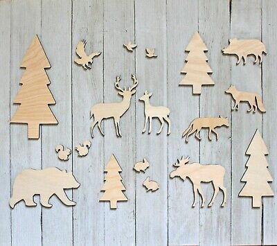 17pc Unfinished Wood Cutout Animals Cabin Decor Man Cave DIY Sign Kit Crafts - Unfinished Wood Signs