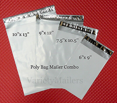 12 Poly Bag Shipping Envelope Variety 4 Sizes Self-sealing Postal Mailers