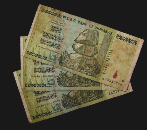 3 x Zimbabwe 10 trillion dollar banknote/2008/AA -LOWER GRADE / VERY USED