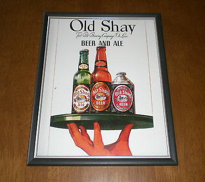 1950's OLD SHAY BEER & ALE FRAMED COLOR AD PRINT