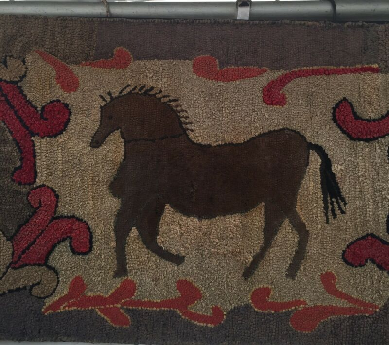 Antique Primitive Hooked Rug Of a Folky Horse Aafa
