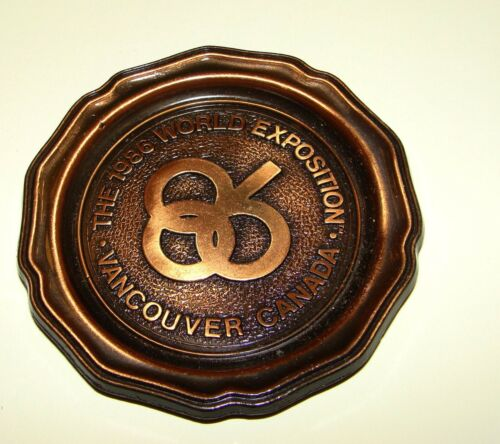ORIG EXPO 86 VANCOUVER B.C. LOGO ROUND METAL RING TRAY - EXPOSITION