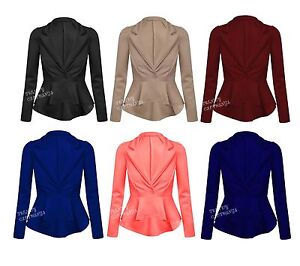 Womens-Ladies-Crop-Frill-Shift-Slim-Fit-Fitted-Peplum-Blazer-Jacket-Coat-UK-8-14