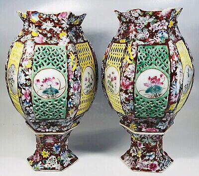 Pair of Antique 1920s Chinese Hand-Painted Ceramic Lanterns 11.5