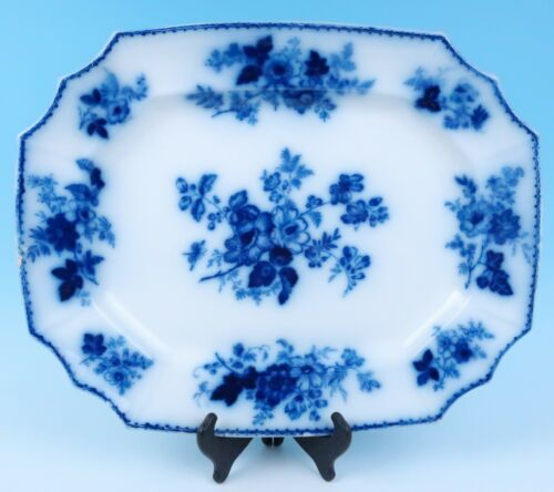 "Antique Staffordshire 20"" Large Flow Blue Platter Everhart West Chester PA Tray"