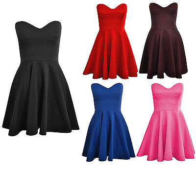 Womens Ladies Padded Boobtube Pleated Bodycon Stretch Skater Skirt Dress UK 8-14
