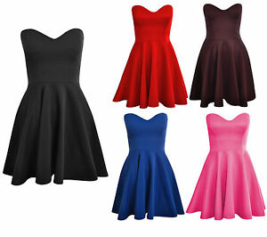 Womens-Ladies-Padded-Boobtube-Pleated-Bodycon-Stretch-Skater-Skirt-Dress-UK-8-14