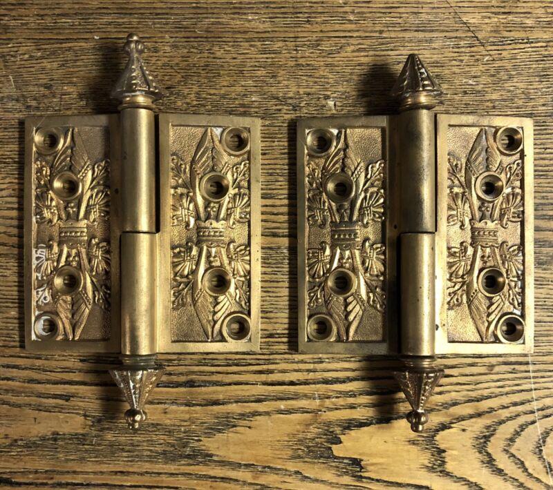 Pair Antique Ornate Cast Bronze Steeple Tip Hinges Pat 1869