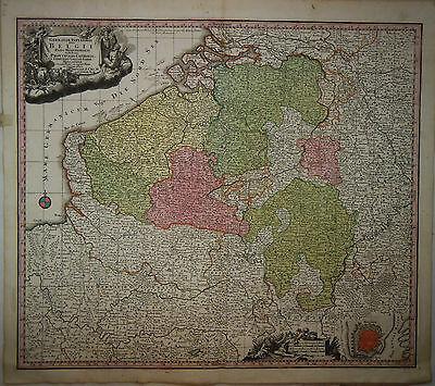 1745 Genuine Antique hand colored map Belgium, Belgii, Cartouche. G.M. Seutter