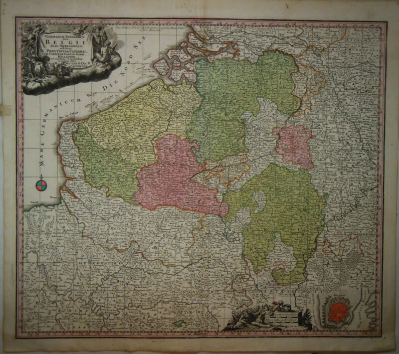 1745 Genuine Antique hand colored map Belgium, Belgii, Cartouche. G.M. Seutter