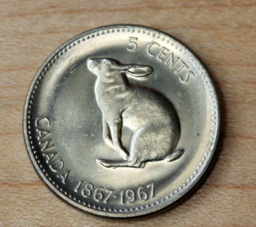1967 Canada 5 Cents Snowshoe Rabbit