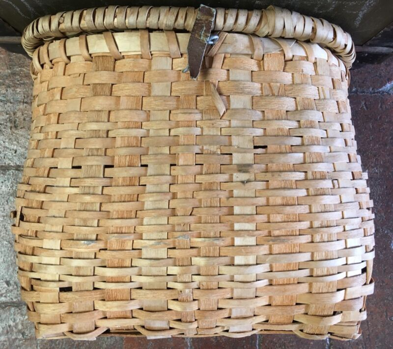 Micmac Indian Handwoven Splint Basket/Creel-1985- Gesgapegiag, Maria, Gaspe