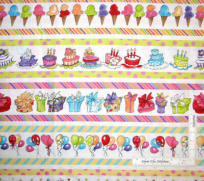 It's A Party Balloon Ice Cream Cake Stripe Cotton Fabric Loralie By The Yard