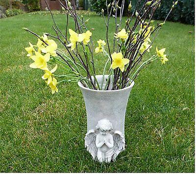 Blumenvase mit Engel  Grabschmuck Grabdeko *Vase* beige-grau-antik Höhe 17,5 cm