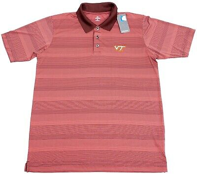 Knights Apparel Virginia Tech VT Red Striped Poly Golf Polo Shirt NWT - Mens L