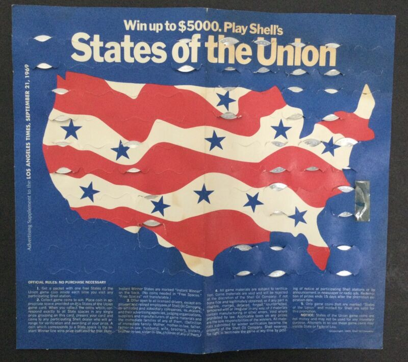 Shell collector Coin game States of the Union and Facts and Faces aluminum 1969
