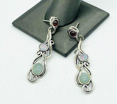 Carolyn Pollack Sterling Silver Garnet Opal Doublet Long Southwestern Earrings