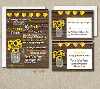 100 Personalized Rustic Sunflower Wedding Invitation Set with Envelopes