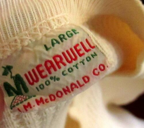 LARGE True Vtg 50s WEARWELL ALL COTTON WAFFLE LOGGER THERMAL UNDER SHIRT USA