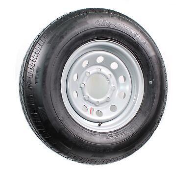 Radial Trailer Tire On Silver Rim ST235/80R16 LRE 8 Lug On 6.5 Modular Wheel
