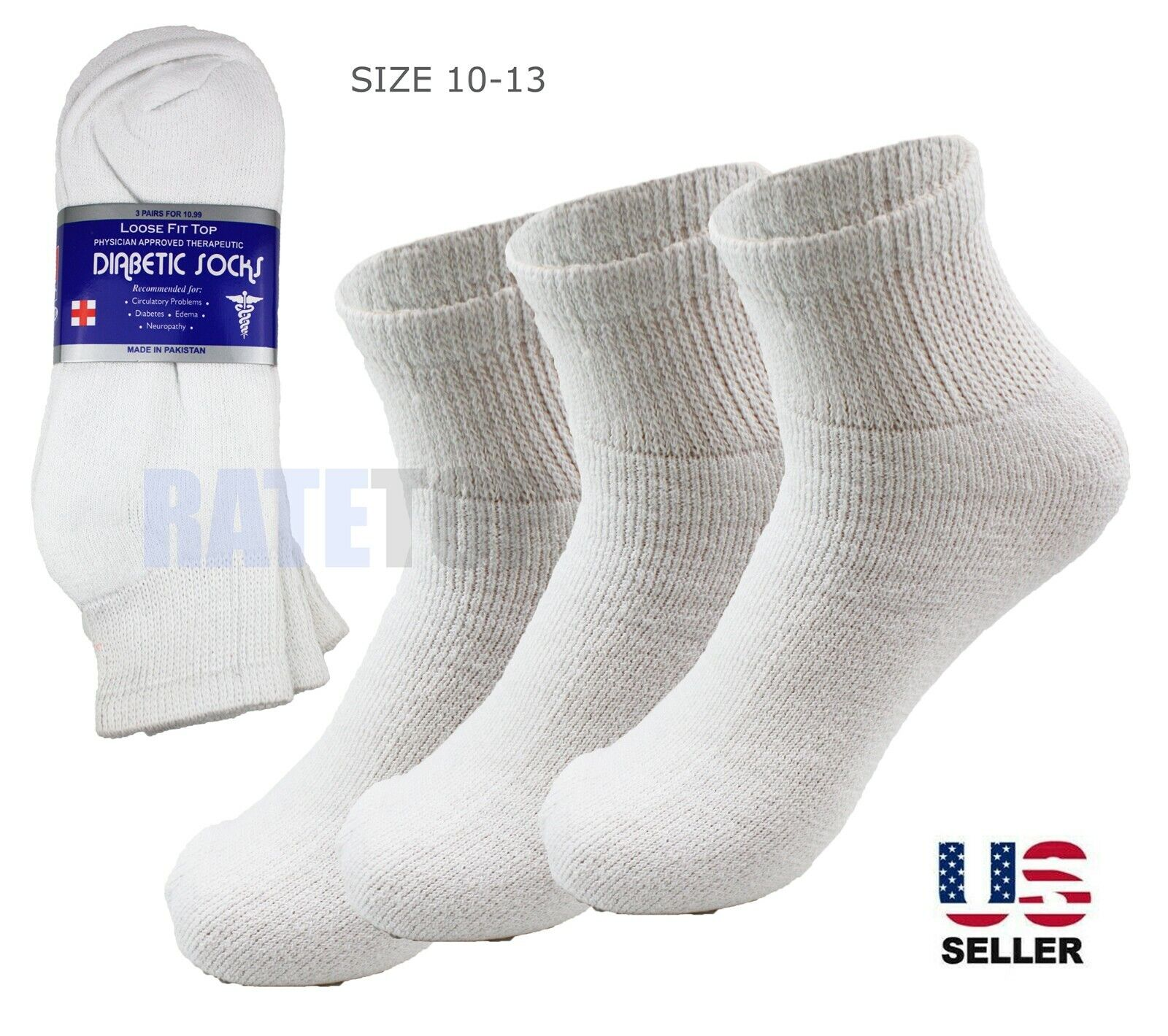 Lot 3 Pairs Mens Diabetic Ankle Quarter Circulatory Socks Health Cotton 10-13 Clothing, Shoes & Accessories