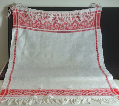 2 Vintage Antique Linen Redwork Damask Show Towels VV568