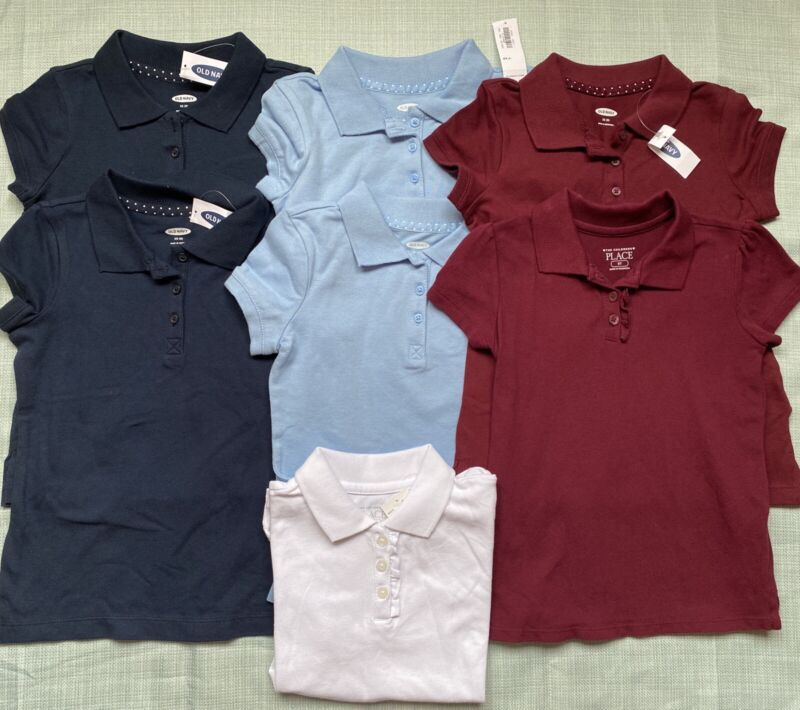 Girls Uniform Polos Sz Xs 5 5t 7 Shirts Navy Blue Burgundy White Old Navy Tcp