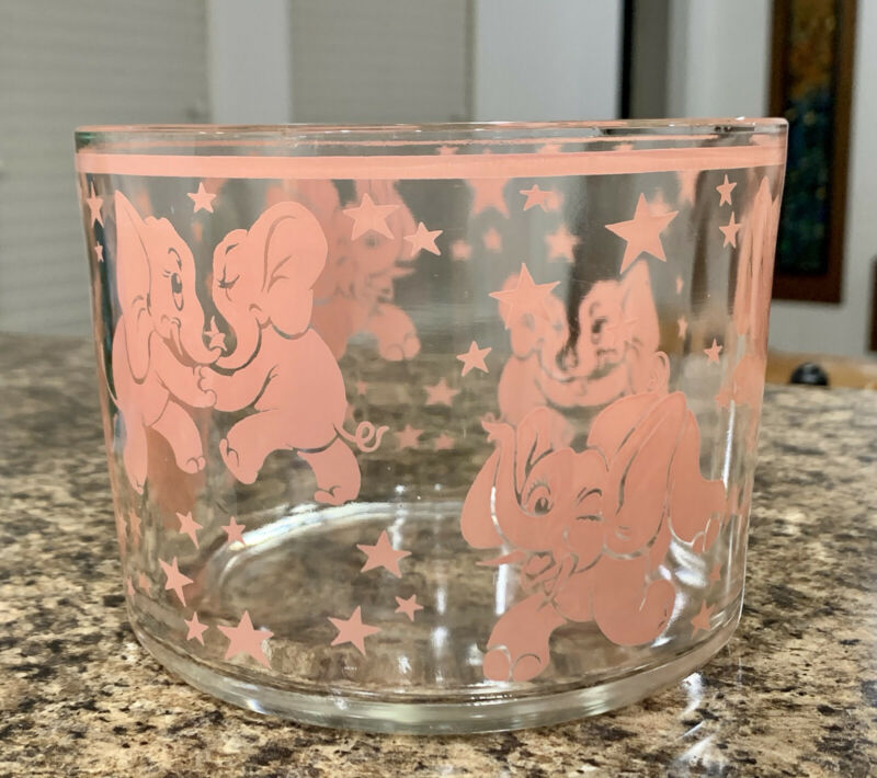 Vintage Hazel Atlas Dancing Pink Elephants with Stars Ice Bucket Tub *AS-IS*