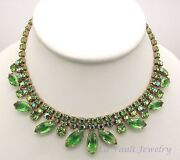 Vintage Green Aurora Borealis Necklace