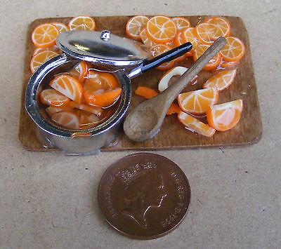 1:12 Making Marmalade On A Board Dolls House Miniature Delicatessen Food Shop