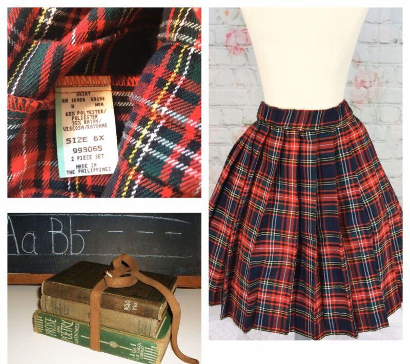 Vintage Girls 6x Red Plaid Skirt School Girl