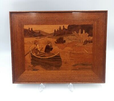 Mid Century Vintage Inlaid Wood Marquetry Picture With a Fishing Scene
