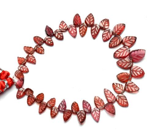 """Natural Gem Rhodolite Garnet 6x4 to 10x7mm Carved Leaf Shape Beads Strand 7"""""""