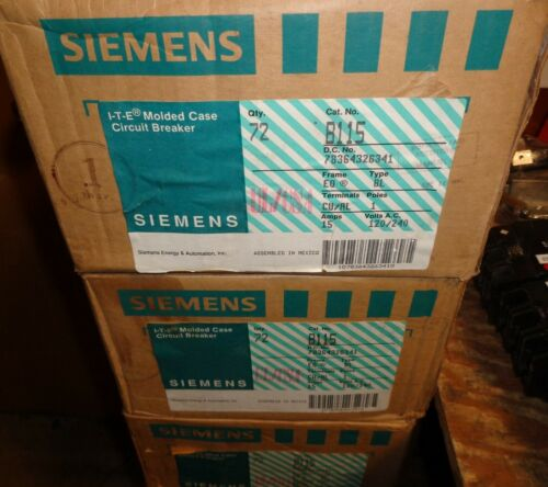 NEW IN BOX SIEMENS TYPE BL (72 PIECES) CAT. B115 15A BOLTON CIRCUIT BREAKERS