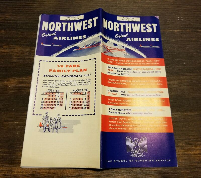 1958 NORTHWEST Orient AIRLINES Airplane HAWAII Vintage TIMETABLE Stratocruiser